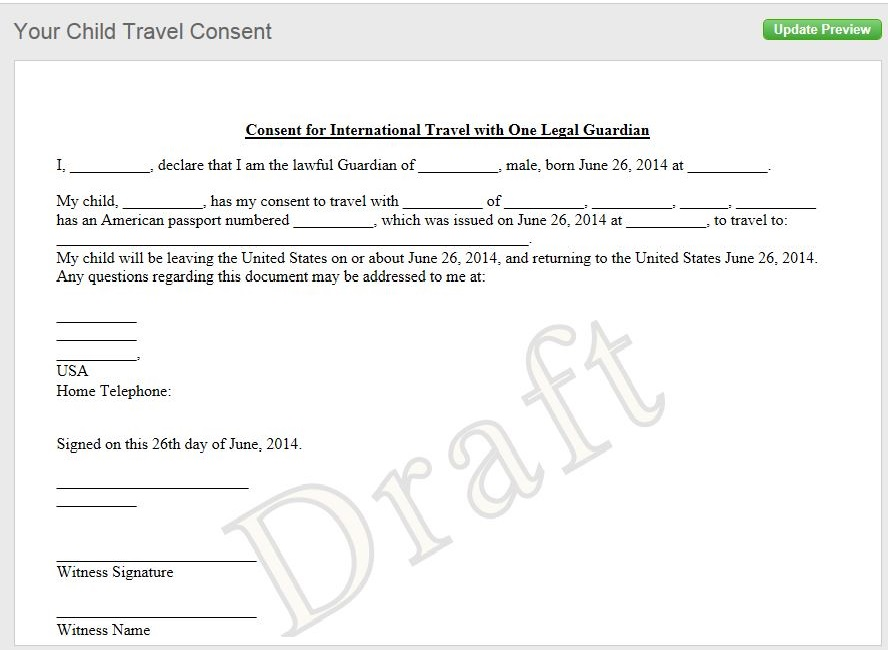 sample of letter of consent for traveling with a minor child
